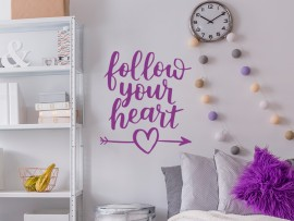 sticker autocollant follow your heart amour