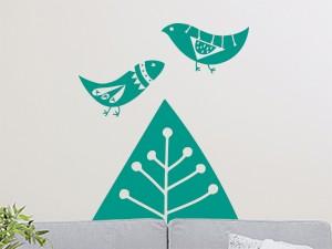 Sticker Arbre et Oiseaux Abstraits