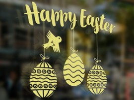 sticker autocollant happy easter ovo paques