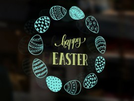 sticker autocollant happy easter oeufs paques