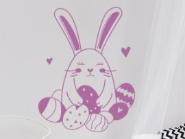 sticker autocollant lapin oeufs paques