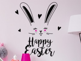 sticker autocollant happy easter lapin paques