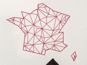 Sticker Carte de France Géométrique