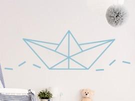 sticker autocollant bateau papier geometrique origami