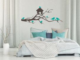 Sticker autocollant Branche Cage Oiseaux