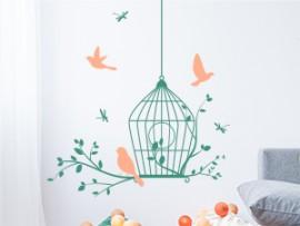Sticker Cage Oiseaux Libellules