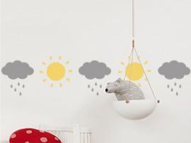 sticker autocollant frise nuages soleil enfant