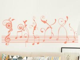 Sticker Autocollant Vinyle Partition Musique Florale