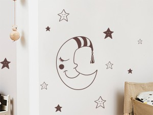 Sticker Petite Lune Etoiles