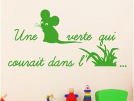 Sticker Une souris verte herbe