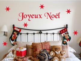 Sticker Texte de Noël Flocons