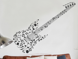 Sticker Guitare Notes de musique