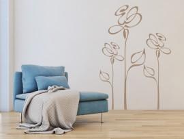 sticker autocollant fleurs abstraites