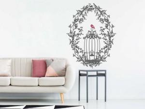 Sticker Cage Oiseaux Floral 3