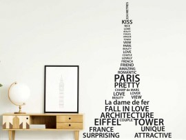 Sticker Tour Eiffel Paris Text