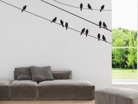 sticker autocollant oiseaux sur le fil