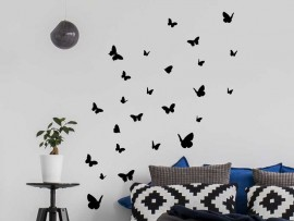 Stickers Kit 26 Papillons Noir