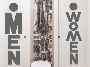 Sticker WC Women & Man Text
