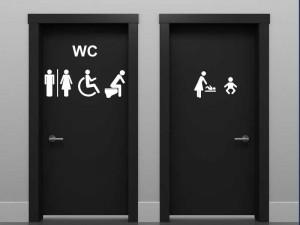 Sticker WC Signalétique 6 symboles