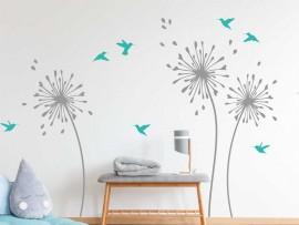 Sticker Fleurs Pissenlit Oiseaux