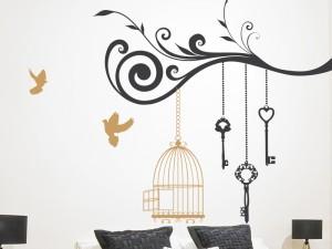Sticker Branche Cage Oiseaux 4
