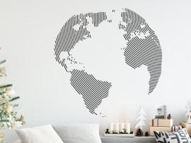 Sticker Carte du monde Globe Circulaire