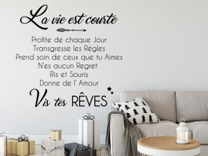 Sticker Citation La Vie est courte