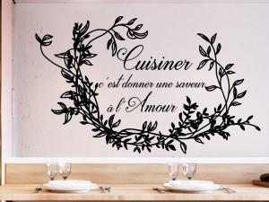 Sticker Citation Cuisiner avec Amour