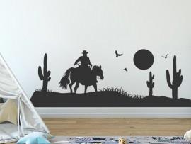 Sticker Paysage Cowboy Cactus