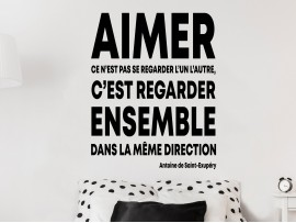 Sticker Citation Aimer de Antoine de St. Exupéry