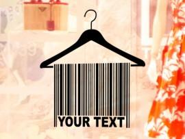 Sticker Cintre Code barre Texte Personnalisable