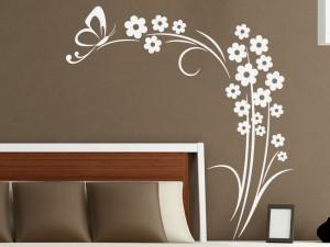 Sticker Floral Marguerites Papillon