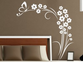 Sticker Floral Marguerites Papillon
