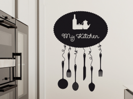 sticker autocollant my kitchen cuisine ustensiles