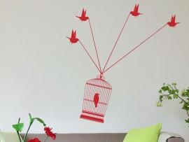 Sticker Vol Cage oiseaux