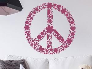 Sticker Symbole Peace and Love Floral