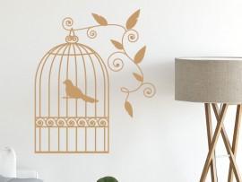 Sticker Cage Oiseaux Florale 2