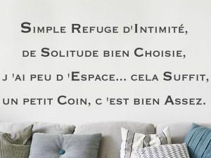 Sticker Citation Simple Refuge d'intimité