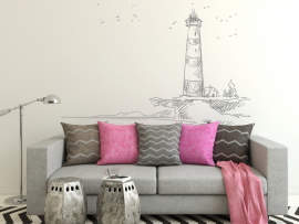 sticker autocollant paysage mer phare