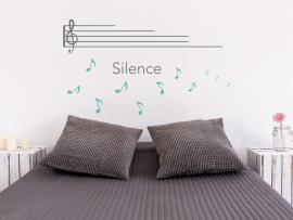 sticker autocollant partition silence musique