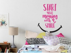 sticker autocollant morning smile texte motivation