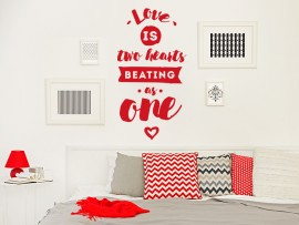 sticker autocollant text 2 Hearts Beating as One