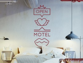 sticker autocollant retro love motel
