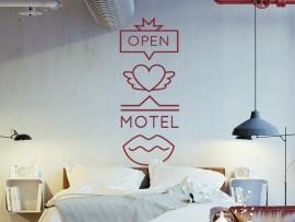 sticker autocollant retro love motel