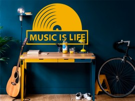 sticker autocollant music is life musique vinyl