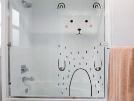 sticker autocollant petit ours porte