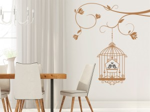 Sticker Cage Oiseaux Love