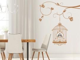 sticker autocollant cage oiseaux amour branche