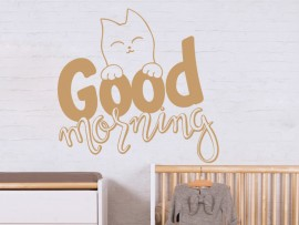 sticker autocollant chat good morning